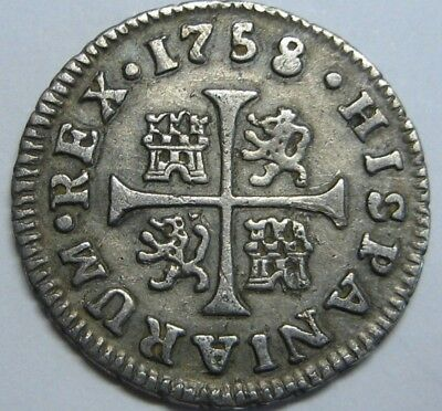 $ CDN94.91 • Buy 1758 Madrid 1/2 Real Ferdinand Vi Spanish Colonial Beautiful Silver Coin Spain