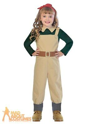 Child Land Girl Costume 1940s WW2 Girls Jumpsuit Wartime Fancy Dress Outfit Kids • 12.99£