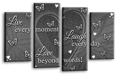 Love Live Laugh Quote Canvas Wall Art Picture Family Print Grey White 4Split 44  • 29.99£
