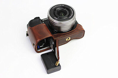 $ CDN13.75 • Buy Coffee Half Leather Case Bag Cover Grip For Sony A6300 A6000 Camera