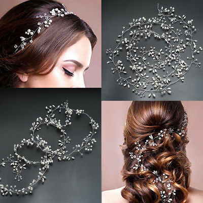 $ CDN2.84 • Buy Women Crystal Wedding Headband Bridal Vine Headpiece Pearl Hair Accessories Hot