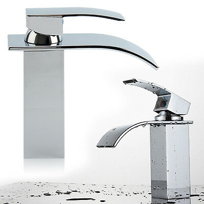 Waterfall Bathroom Sink Counter Taps Basin Mixer Tap Chrome Square Mono Faucet • 18.99£