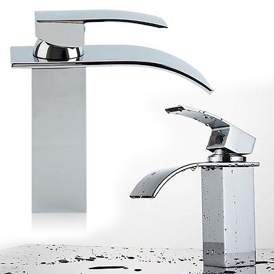 £21.59 • Buy Waterfall Bathroom Tap Chrome Square Mono Faucet Sink Counter Basin Mixer Taps