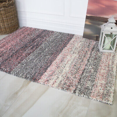£34.95 • Buy Blush Pink Striped Shaggy Rug Soft Non Shed Dense Grey Shaggy Living Room Rugs