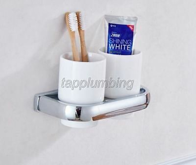 Polished Chrome Wall Mounted Toothbrush Holder With Two Ceramic Cups Tba836 • 43.16£