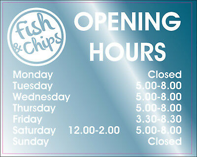 £6.99 • Buy FISH & CHIP SHOP CAFE OPENING HOURS CAFE DECAL PERSONALISED SIGN 28x21cm