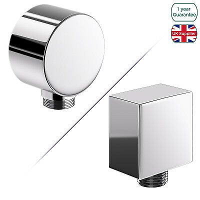 Bathroom Square Round Shower Hose Wall Outlet Elbow Chrome Connector 1/2  Bsp • 7.99£