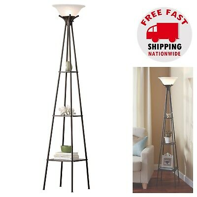 Tall Modern Floor Lamp Charcoal Finish Shelf Light Living Room Home Office Study • 31.08£