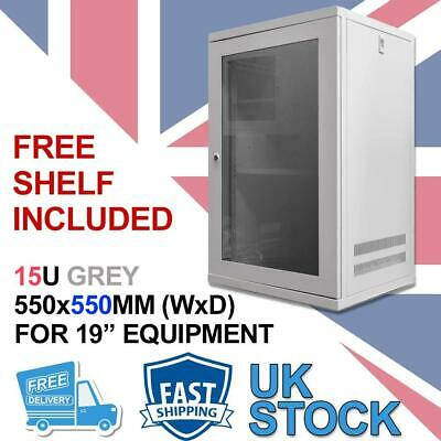 15U 19  550MM Network Cabinet Data Comms Wall Rack For Patch Panel, Switch, PDU • 132.99£