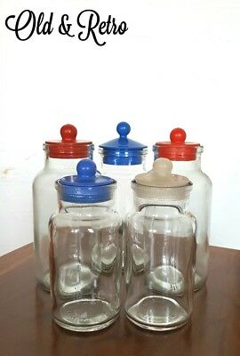 5 X Cool 70s VINTAGE RETRO GLASS Sweet STORAGE CANISTERs JARs WITH Plastic LIDs • 22.99£