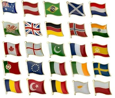 National Country Flag Lapel / Pin Badge High Quality *** Over 100 Countries *** • 1.99£