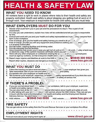 £8.99 • Buy Health And Safety Law A3 Poster