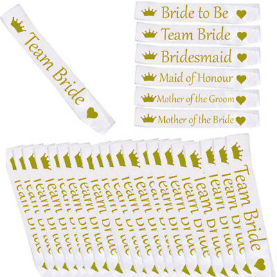 £1.99 • Buy *white With Gold* Bulk Buy Lot Hen Party Team Bride Sash Girls Night Out Do