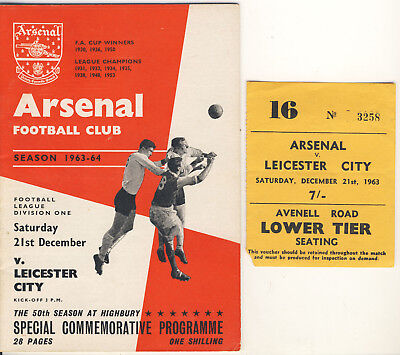 £19.99 • Buy Ticket And Programme : Arsenal V Leicester City 21/12/1963 Commemorative 50th