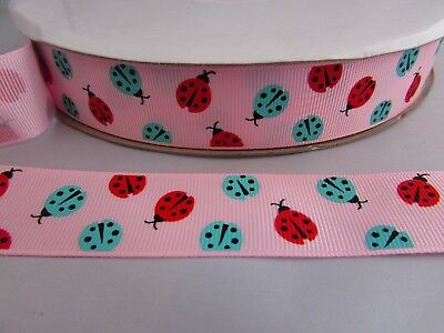 25mm Grosgrain Pink Ladybird Ribbon In 2m, 5m,10m And 20m • 2.50£