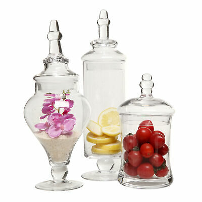 Clear Glass Apothecary Jars (3 Piece Set) Decorative Weddings Candy Buffet • 36.70£