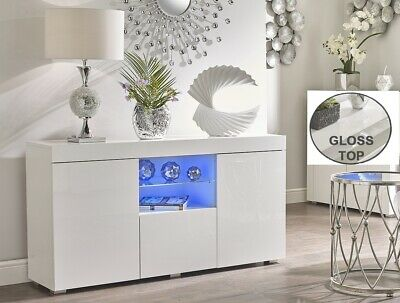 WHITE High Gloss Doors Top Cabinet Cupboard Sideboard Blue LED Light TV Unit NEW • 199.95£