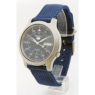 $ CDN130.06 • Buy NEW SEIKO 5 SNK807K2 AUTOMATIC Military WATCH (CAL.7S26C) BLUE Face Nylon Strap
