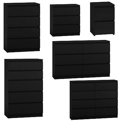MODERN - Black Chest Of Drawers Bedroom Furniture Storage Bedside 2 To 8 Draws • 104.99£