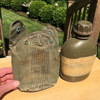 $ CDN10.13 • Buy US Military Army 1 QT Hard Plastic Canteen W/ Cover OD USA MADE 1965