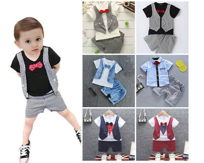 £7.52 • Buy 1 Set Baby Kids Boys Tops&short Pants Party Wedding Formal Suit Tuxedo Outfits