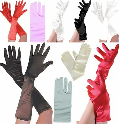 £4.49 • Buy Womens Smooth Satin Short Wrist Gloves Ladies Fancy Dress Party Accessories