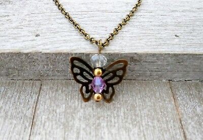 Birthstone Pendant Charm Necklace Guardian Angel June Alexandrite Light Amethyst • 5.72£