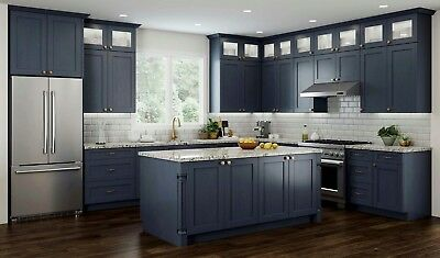 $4199.99 • Buy All Wood RTA 10X10 Transitional Shaker Kitchen Cabinets In Elegant Blue, Modern
