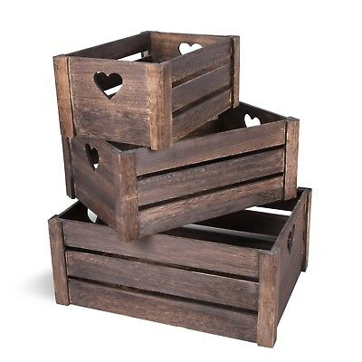 Lovely Brown Wooden Crates Storage Rack Shelves Christmas Eve Gift Hamper Box • 12.34£
