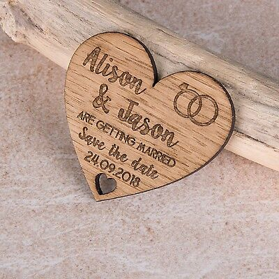 AU82.70 • Buy Personalised Engraved Wooden Heart Save The Date Wedding Fridge Magnet Invites