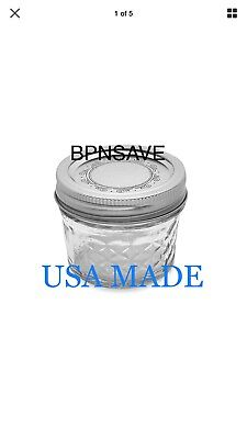 Ball Crystal Quilted Mason Jars 4 Oz Set Of 12, Glass Canning Jars Jelly USA • 19.25$