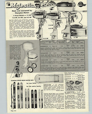 $14.98 • Buy 1957 PAPER AD Majestic Champion Outboard Motor 7.8 6 4.2 15 HP White Bear Skis