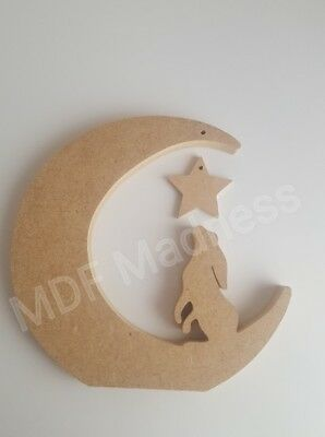 £4.15 • Buy Mdf Craft Shape. Wooden Hare On Moon With Hanging Star 15cm High