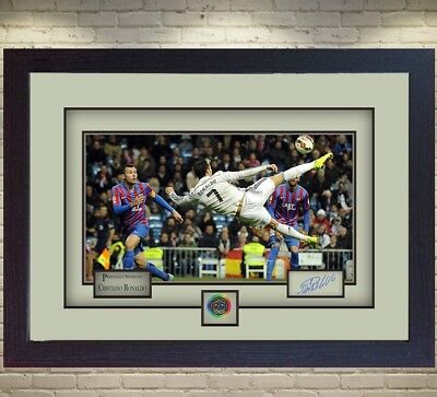 Cristiano Ronaldo Real Madrid Signed Autograph Photo Picture Print Framed. • 18.99£