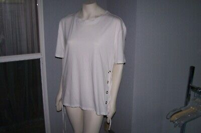 Women's White Top NEW With Tags Size: XL 8 Metal Ringlets On Each Side W/ String • 7.22£