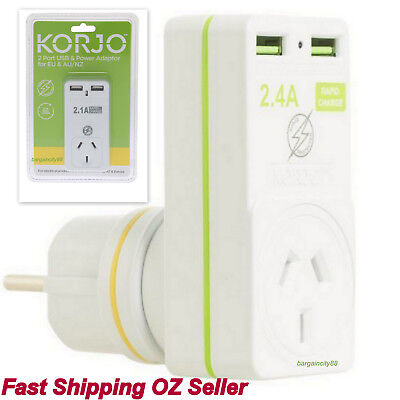 AU78.94 • Buy USB&Adapter Wall Plug For Charging AU Australia/Asia/Bali/Thailand/Middle East