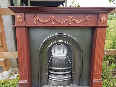 157 Cast Iron Fireplace Fire Arch Arched Antique Victorian Style Surround Old • 495£