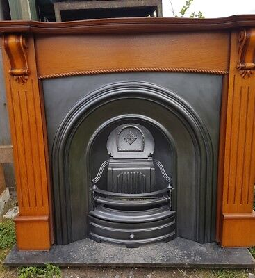 156 Cast Iron Fireplace Fire Arch Arched Antique Victorian Style Surround Old • 495£