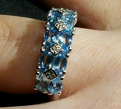 Swiss Blue & White Topaz  2.68ct.Solid Sterling Silver Ring.Size J-K Hallmarked • 49.98£