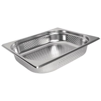 £9.99 • Buy Stainless Steel 1/2 Size PERFORATED Gastronorm Pan Bain Marie Pot Choose