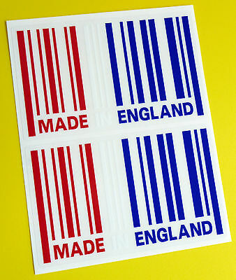 MADE IN ENGLAND Flag BARCODE Sticker Decal X2 MINI COOPER LAND ROVER JAGUAR MG • 4.95£