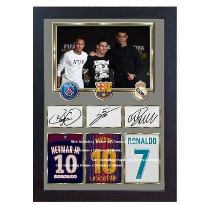 New Neymar Messi Cristiano Ronaldo Signed Autograph Print Photo Picture Framed • 18.99£