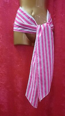 2M Long Pink & White Stripe Pirate Waist Sash Fancy Dress Book Day Hen Night • 4.99£