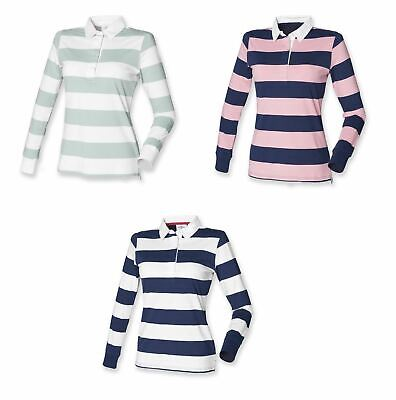 Ladies Womens Long Sleeved Striped Cotton Rugby Shirt Top S-XXL FR111 • 2.50£