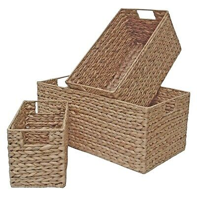 Wicker Storage Basket, Long & Deep Shelf Drawer Home Storage Water Hyacinth  • 29.99£
