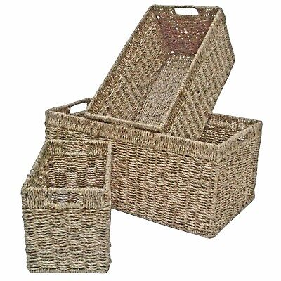 Wicker Storage Basket Shelf Drawer Kitchen Bedroom Bathroom Hamper Seagrass  • 17.99£