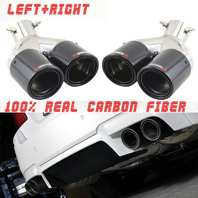 $ CDN313.77 • Buy 63mm Inlet Twin Exhaust Pipe Tail Muffler Tip For Car Left + Right Glossy Carbon