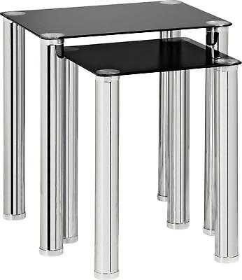 HOME Nest Of 2 Glass Tables - Black And Chrome Coffee Side Table Nesting Set • 61.99£