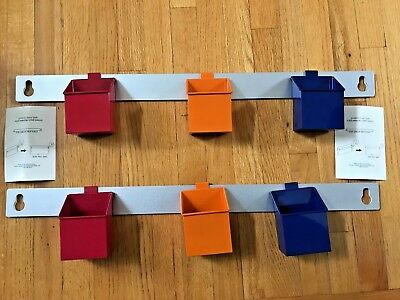 $39.99 • Buy Lot 8-Pottery Barn Kids Wall Storage Metal Flexi Wall Hanger & Bins Red Blue Ora