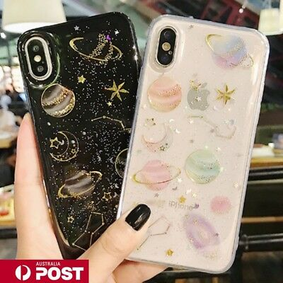 AU9.99 • Buy Galaxy Bling Glitter Planet Soft Jelly Case Cover For IPhone X XR MAX 6 7 8 Plus